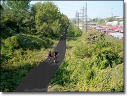 Pictured is concept of how a trail could be developed along the abandoned Norfolk